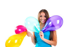 Cute women with the balloons Royalty Free Stock Photography