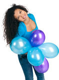 Cute women with the balloons Royalty Free Stock Images