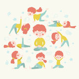 Cute women doing yoga position. Royalty Free Stock Photography