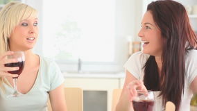 Cute women drinking wine. In a kitchen stock footage