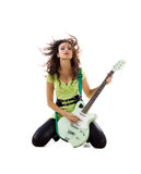 Cute women with electric guitar Royalty Free Stock Photos
