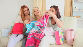 Cute women happy with their shopping stock video footage