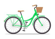 Cute women s bike with a low frame and basket in front. Vintage bicycle. Vector illustration in flat style. stock image