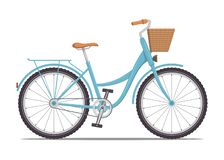 Cute women s bike with a low frame and basket in front. Vintage bicycle. Vector illustration in flat style. stock photos
