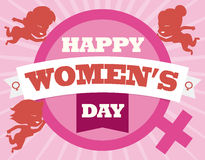 Cute Women Silhouettes around Woman Symbol for Women's Day Commemoration, Vector Illustration. Woman symbol and little smiling women silhouettes around it with Royalty Free Stock Photography