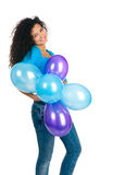 Cute Women With The Balloons Stock Photography