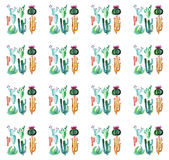 Cute wonderful mexican tropical hawaii floral herbal summer green pattern of a groups colorful cactus with flowers vertical patter Royalty Free Stock Photo