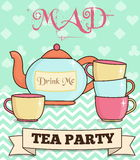 Cute wonderland mad tea party illustration. Teapot and cups on mint background. For party and event invitations and other design projects Stock Photos