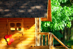 Cute wooden children house, outdoors stock photos