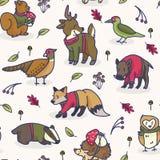 Cute woodland animal cartoon seamless vector pattern background. stock illustration