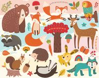 Cute Woodland Animal Element Set. A vector illustration of Cute Woodland Animal Element Set. Perfect for Woodland nature theme, holiday, card and many more royalty free illustration