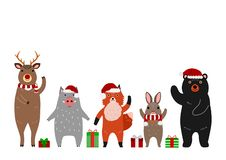 Cute woodland animals group with Christmas accessories. Standing in a row stock illustration