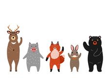 Cute woodland animals group. Standing in a row, standing on their feet vector illustration
