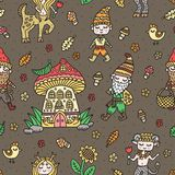Cute woodland background. Fairy tale creatures. Gnome, centaur, satyr. Forest kingdom. Vector seamless pattern.