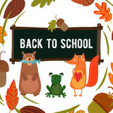 Cute Woodland and Forest Animals in School Stock Image