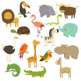 Cute Woodland and Jungle Animals Vector Set Stock Image
