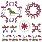Cute woodpecker cartoon vector illustration motif set. vector illustration