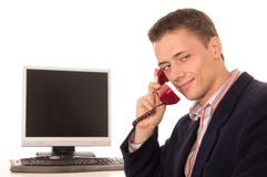Cute worker at telephone Stock Photo