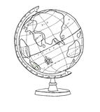 Cute World-Globe line art  good  illustration Royalty Free Stock Image