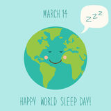 Cute World Sleep Day background with funny cartoon character of sleeping planet Earth and speech bubble Stock Photography
