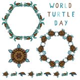Cute world turtle day cartoon vector illustration motif set. Hand drawn isolated endangered ocean life circle elements clipart for animal conservation blog royalty free illustration