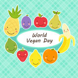 Cute World Vegan Day card with smiling characters of fruits around a plate Royalty Free Stock Images