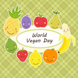 Cute World Vegan Day card with smiling characters of fruits around a plate Stock Photos