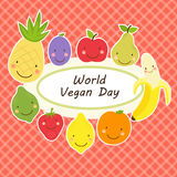 Cute World Vegan Day card with smiling characters of fruits around a plate Stock Images