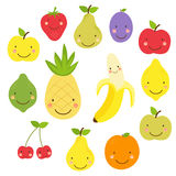 Cute World Vegan Day card with smiling characters of fruits Stock Photo