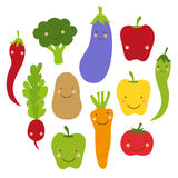 Cute World Vegan Day card with smiling characters of veggies Royalty Free Stock Image