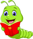 Cute worm cartoon. Illustration of Worm Reading a Book Stock Images