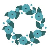 Cute wreath with blue flowers. Vector wreath. Vector illustration. Cute wreath with blue flowers. Vector wreath Royalty Free Stock Photo