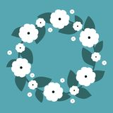Cute wreath with white flowers. Vector wreath. Vector illustration Royalty Free Stock Photo