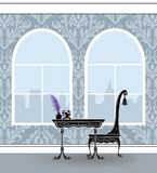Cute Writing Table in a Gray Damask Room With Palladian Windows vector illustration
