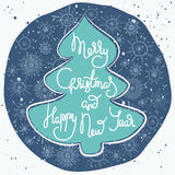 Cute xmas greeting card with fir tree. Cute xmas greeting card with green fir tree shape and white lettering in a blue decorative ornate circle with hand drawn Royalty Free Stock Image