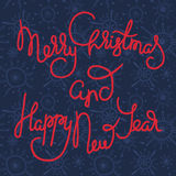 Cute xmas greeting card with red lettering Stock Photography
