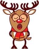 Cute Xmas reindeer singing inspired Stock Photos