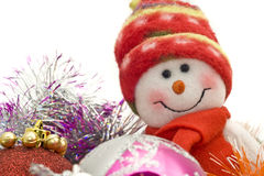 Cute Xmas snowman and decoration baubles Royalty Free Stock Images