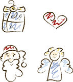 Cute Xmas Symbol Set Royalty Free Stock Photography