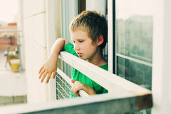 Cute 8 years old autustic boy Royalty Free Stock Photography