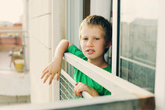 Cute 8 years old autustic boy Royalty Free Stock Image
