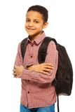 Happy black school boy Royalty Free Stock Image