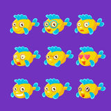 Cute Yellow Aquarium Fish Cartoon Character Set Of Different Facial Expressions And Emotions. Emoji Collection With Colorful Friendly Tropical Fish Childish Royalty Free Stock Photos