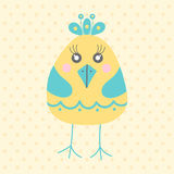 Cute yellow bird, cartoon style Stock Image