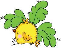 Cute yellow bird with green leaves royalty free illustration