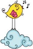 Cute yellow bird singing on cloud royalty free illustration