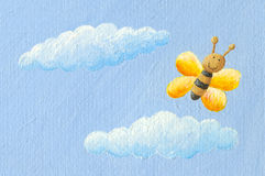 Cute yellow butterfly in the sky Stock Photos