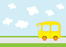 Cute yellow car. Illustration of cute yellow car over on the road, cartoon Stock Photography