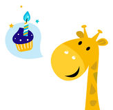 Cute yellow cartoon party giraffe with Candy Royalty Free Stock Photography