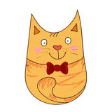 Cute yellow cat. Cute hand drawn cat with red ribbon Stock Images